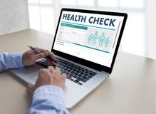 Digital HEALTH CHECK Concept working with computer interface as Stock Images