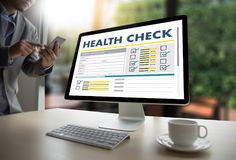 Digital HEALTH CHECK Concept working with computer interface as Stock Photo