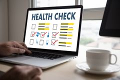 Digital HEALTH CHECK Concept working with computer interface as Royalty Free Stock Photos