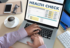 Digital HEALTH CHECK Concept working with computer interface as Royalty Free Stock Photography