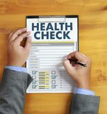 Digital HEALTH CHECK Concept working with computer interface as Stock Image