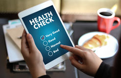 Digital Health Check Healthcare Concept doctor working with comp. Uter interface as medical Stock Image
