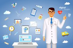 Digital health concept with medical icons Royalty Free Stock Photos