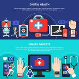 Digital Health Gadgets Flat Banners. Digital health gadgets devices apps 2 horizontal flat banners set with first aid symbol isolated vector illustration Stock Photos