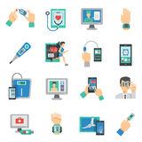 Digital Health Icons Flat Set Royalty Free Stock Photo