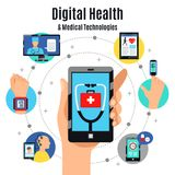 Digital Health Technologies Flat Composition. Digital healthcare solutions with electronic devices flat composition poster with mobile touchscreen phone medical Royalty Free Stock Photo