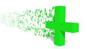 Digital healthcare concept green cross emitting binary streams stock illustration