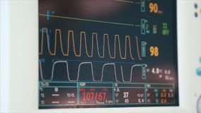 Digital heart monitor read out close up with lines graphing and numbers displayed of patient being measured. Digital heart monitor read out close up with lines stock footage