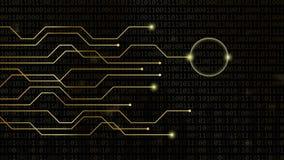 Digital-Herz auf on-line-Datierungskonzept des goldenen binär Code-Hintergrundes stock footage
