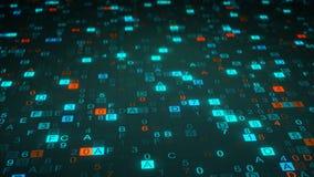 Digital hex code symbols on monitor Stock Photography