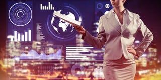 Digital-Hintergrund mit infographs und Erweiterungspapieren Dame oder Lizenzfreie Stockbilder