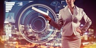 Digital-Hintergrund mit infographs und Erweiterungspapieren Dame oder Lizenzfreie Stockfotos