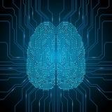Digital hjärnillustration Stock Illustrationer