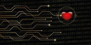 Digital hjärta på online-datummärkning för guld- bakgrund för binär kod lurar stock illustrationer