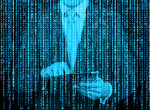 Digital hologram in a matrix style. A man with tablet is browsing data in the Internet. Stock Photography