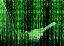 Digital hologram in a matrix style. A person with tablet is browsing some data in the Internet. Stock Images