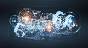 Digital holograms with screens charts and statistics 3D renderin. Digital holograms with screens charts and statistics on dark background 3D rendering Stock Image