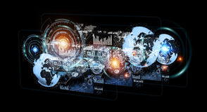 Digital holograms with screens charts and statistics 3D renderin. Digital holograms with screens charts and statistics on dark background 3D rendering Royalty Free Stock Photo
