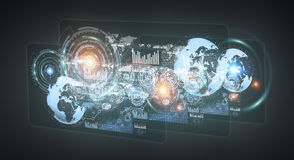 Digital holograms with screens charts and statistics 3D renderin. Digital holograms with screens charts and statistics on dark background 3D rendering Royalty Free Stock Photos