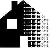 Digital house data. A house transfering into digital binary code. Representing home automatisation Royalty Free Stock Images