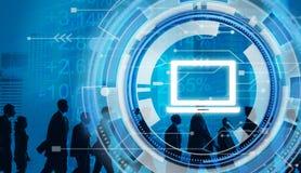 Digital Hud Interface Laptop Concept blu fotografie stock