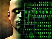 Digital human. A cyborg face gradually fades into some binary code stream. Digital illustration Royalty Free Stock Photo