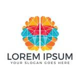 Digital human brain logo. vector illustration