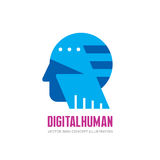 Digital human head vector logo concept illustration. Creative idea sign. Learning icon. People computer chip. Innovation tech. Royalty Free Stock Image