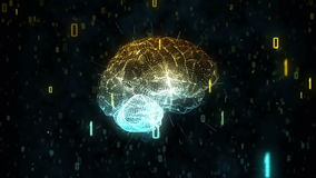 Digital A.I. Brain in cloud of binary data. A computer generated animation of a digital brain surrounded by binary information illustrating concepts of thought