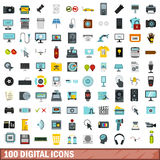 100 digital icons set, flat style Stock Photos