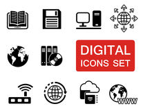 Digital icons set with red signboard Stock Images