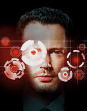 Digital ID concept. Portrait of handsome man with tech pattern on eye. Digital ID concept Stock Photo