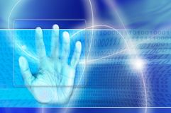 Digital identity. A hand touching a screen as concept for digital identity scan Royalty Free Stock Photography