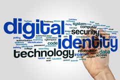 Digital identity word cloud concept on grey background.  Stock Photo