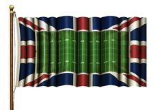 American Football Field & British Flag Combined on a Flag Pole – 3D Illustration royalty free illustration