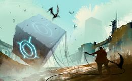 Digital illustration art painting style warrior readying to atta. Ck many fly monsters by huge weapon, the stone cube and chained is in abandoned city, sci-fi Royalty Free Stock Images
