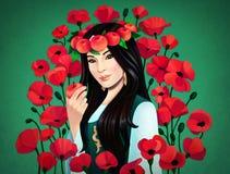 Digital illustration av den asiatiska flickan stock illustrationer