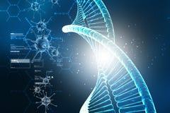 Digital illustration av Dna-strukturen med viruset vektor illustrationer