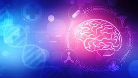Digital illustration av strukturen för mänsklig hjärna, idérik hjärnbegreppsbakgrund, innovationbakgrund vektor illustrationer
