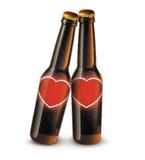 Love Bottles. Digital illustration of beer bottles with blank heart labels Stock Images
