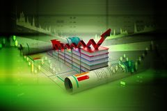 Digital illustration of Business graph and books of register. In color background Royalty Free Stock Photography