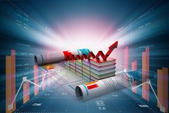 Digital illustration of Business graph and books of register. In color background Royalty Free Stock Photos