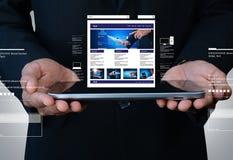 Business man showing internet website. Digital illustration of business man showing internet website stock image