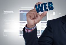 Business man showing web icon. Digital illustration of business man showing web icon Stock Photo