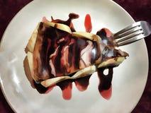 Digital illustration: chocolate strawberry jam cake Royalty Free Stock Images