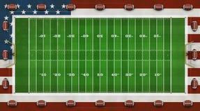 American Football Field, US Flag, Footballs Composite – 3D Illustration vector illustration