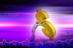 3d man with dollar sign. Digital illustration of 3d man with dollar sign in color background Stock Photography