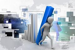 3d man holding business graph. Digital illustration of 3d man holding business graph in color background Stock Image