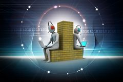 3d people working in laptop. Digital illustration of 3d people working in laptop in color background Stock Image