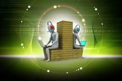 3d people working in laptop. Digital illustration of 3d people working in laptop in color background Stock Photo
